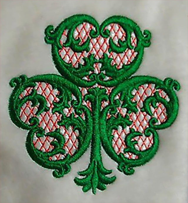 Acanthus shamrock with netting embroidery design the